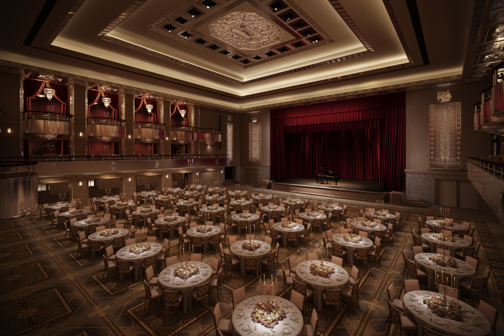 Rendering of the renovated Grand Ballroom by Skidmore, Owings & Merrill (Photo by Courtesy of Waldorf Astoria New York)