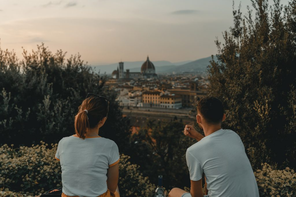 florence italy couple looking at view