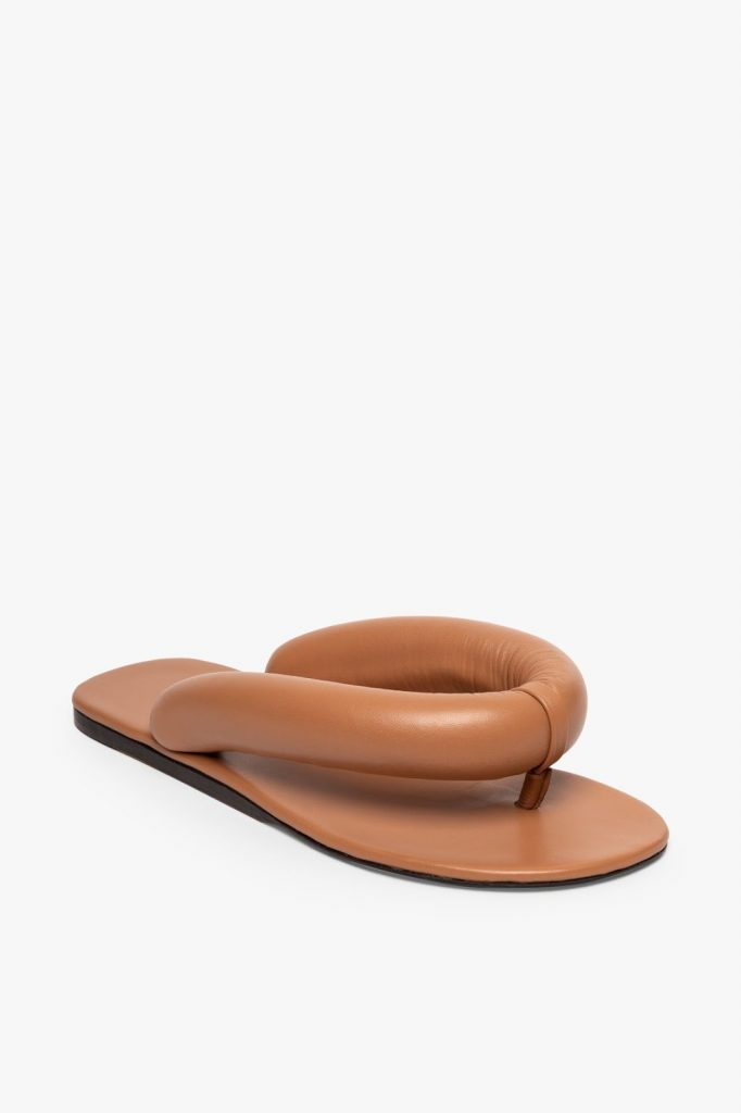 what sandals are in style for 2021 puffy padded flip flop trend Rita Sandal   Tawny by Staud