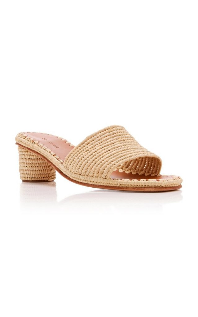 what sandals are in style for 2021 Carrie Forbes Bou Raffia Heeled Mules