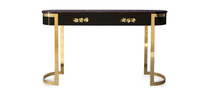 orchidea console by koket gold and black oval hall table