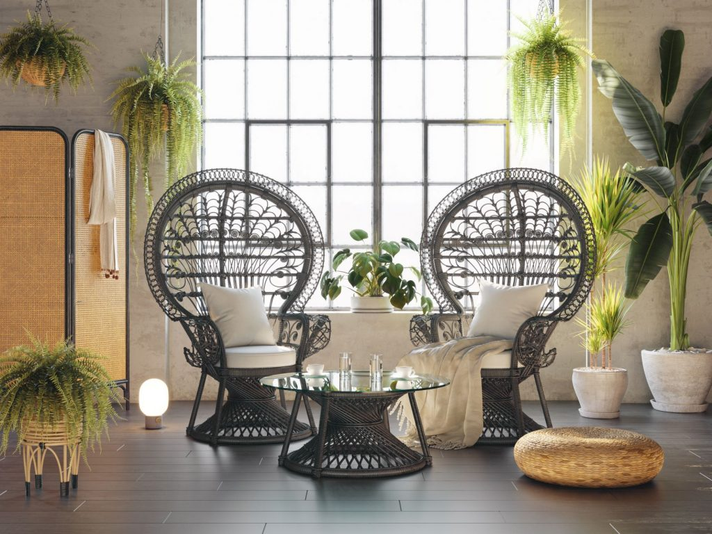 exotic interior home design with plants