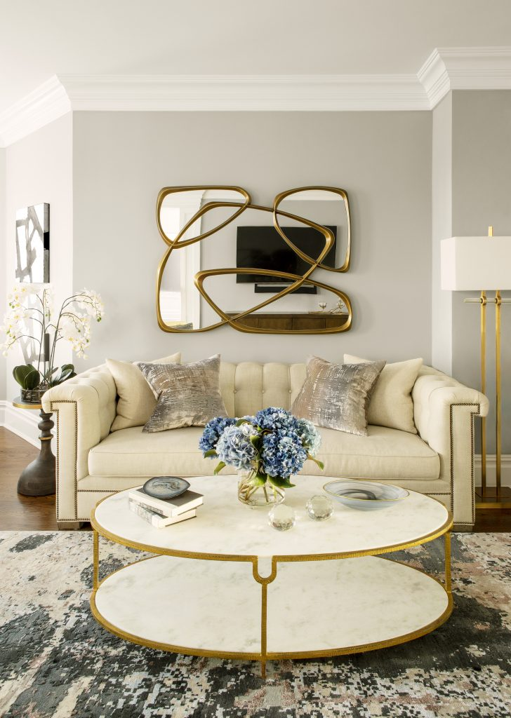 gold and cream luxury glamorous sitting area marlaina teich designs
