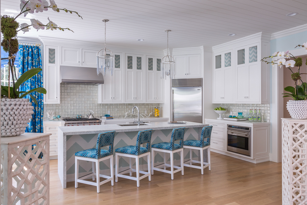 luxury kitchen at the Hampton's Showhouse Interior design by Marlaina Teich Design