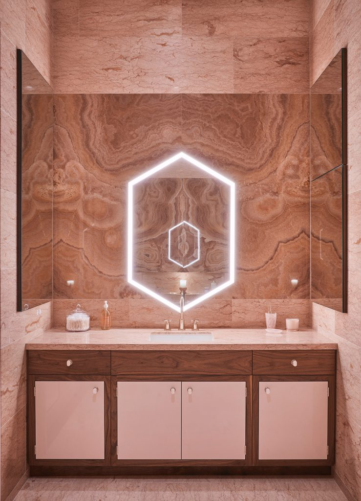 wow factor bathrooms Wood makes the perfect accent to this marble-clad bathroom designed by 212box