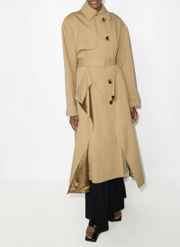 a.w.a.k.e. mode draped double breasted trench coat camel