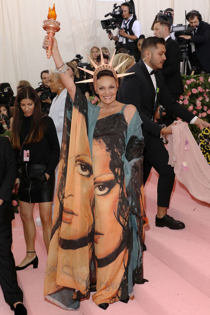 """Diane von Furstenberg at the 2019 Met Gala celebrating """"Camp: Notes on Fashion"""" (Photo by Taylor Hill/FilmMagic)"""