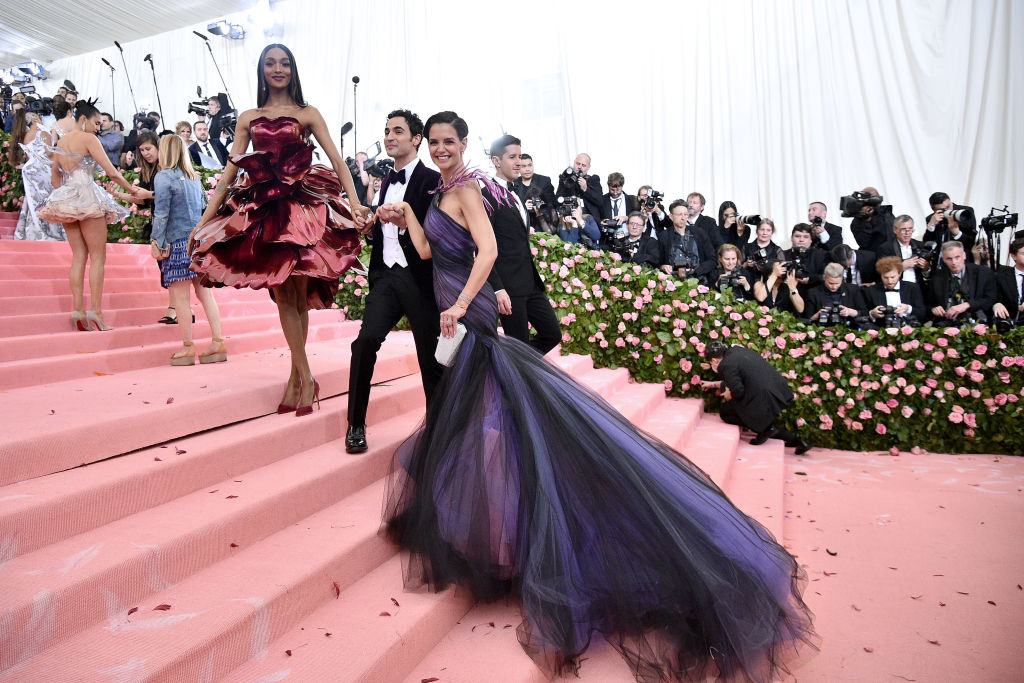 """Jourdan Dunn, Zac Posen, and Katie Holmes at The 2019 Met Gala """"Celebrating Camp: Notes on Fashion"""" (Photo by Theo Wargo/WireImage)"""