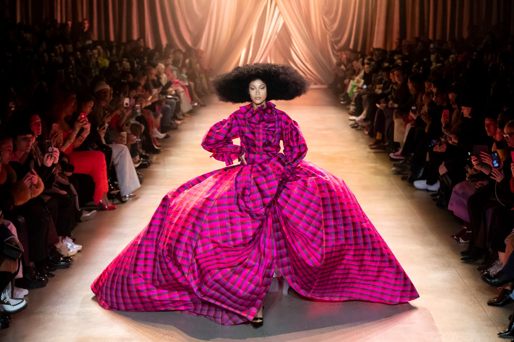 A model walks the runway during the Christopher John Rogers Ready to Wear Fall/Winter 2020-2021 fashion show in 2020 in New York City (Photo by Victor VIRGILE/Gamma-Rapho via Getty Images)
