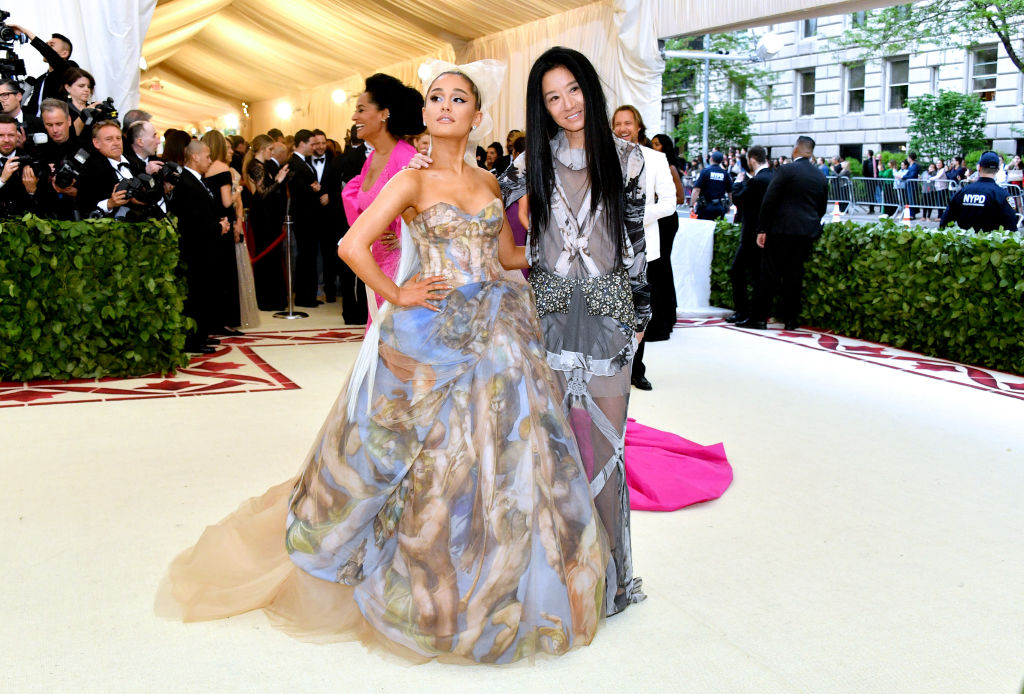 """Ariana Grande and Vera Wang at the """"Heavenly Bodies: Fashion & The Catholic Imagination"""" Met Gala 2018 (Photo by Dia Dipasupil/WireImage)"""