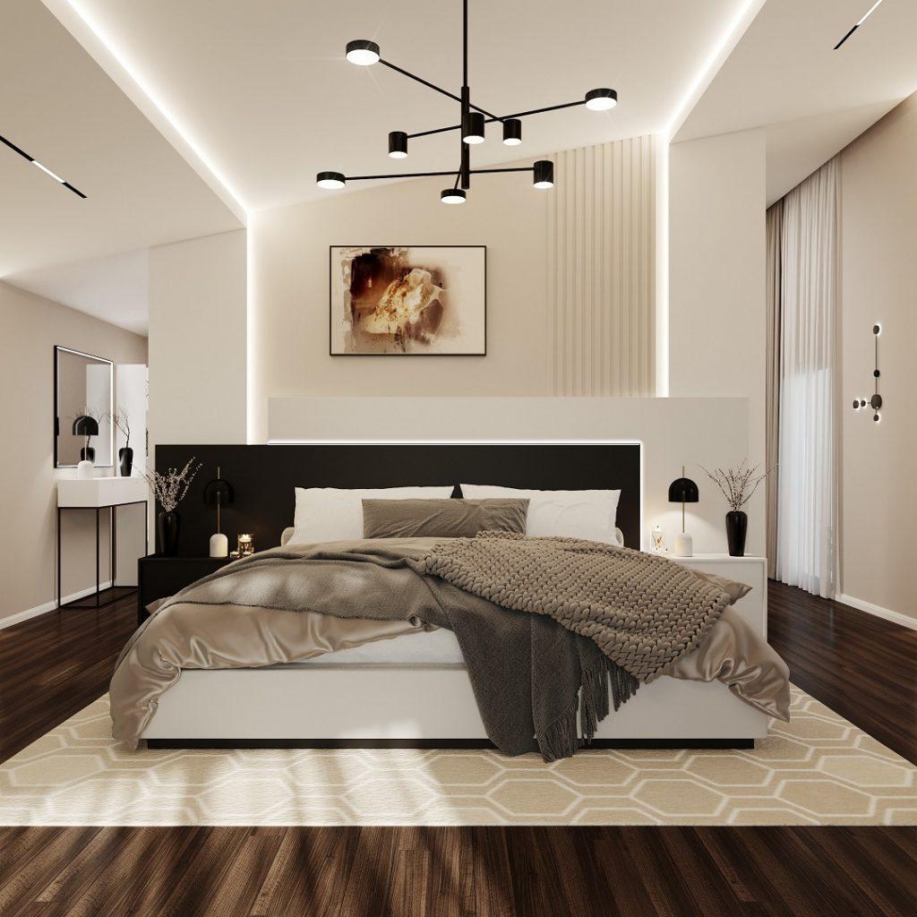 neutral luxury master bedroom design rendering