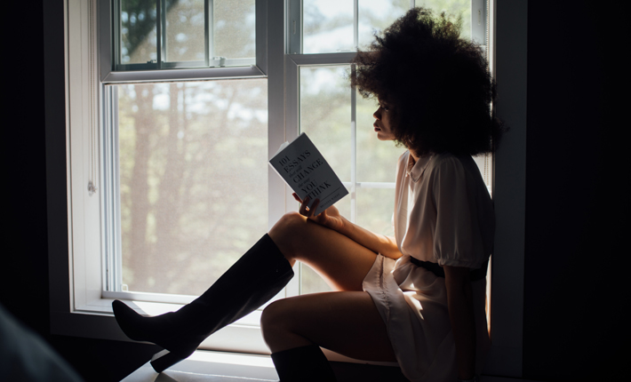 self help books woman reading college bound