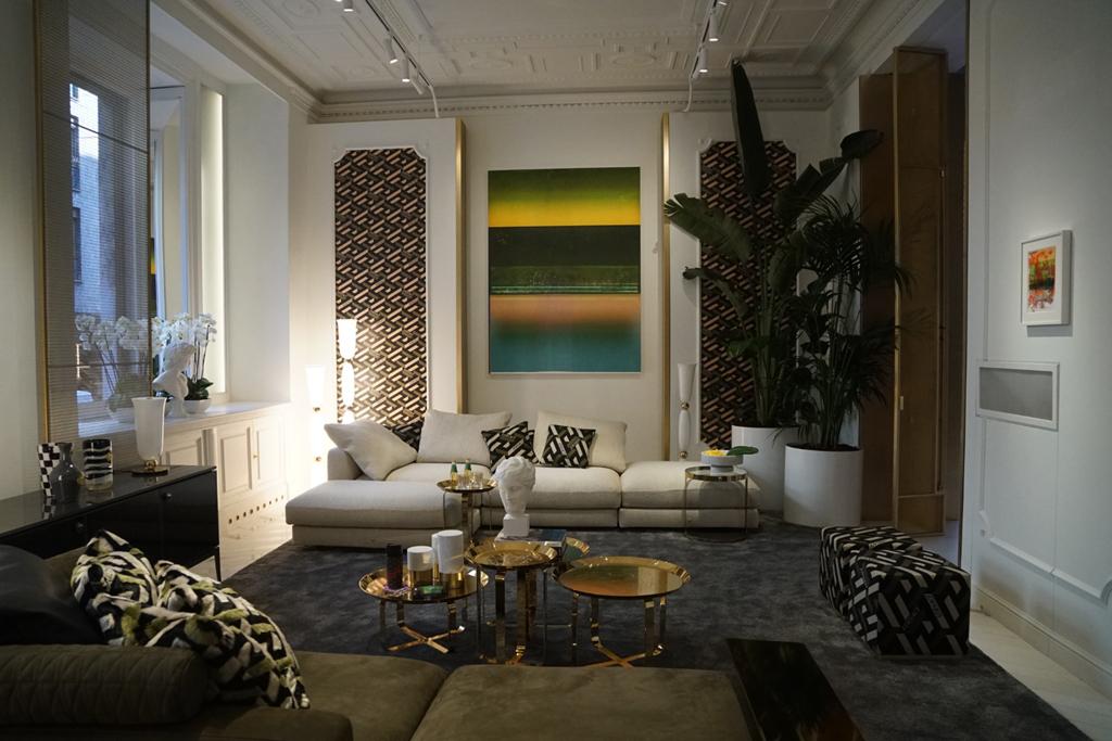 luxury home brands milan Versace Showroom, Milan Design Week 2021 living room glamour