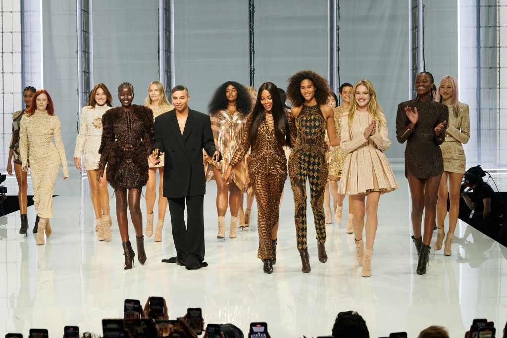 Olivier Rousteing and models walk the runway during the Balmain Festival V02 Womenswear Spring/Summer 2022 show as part of Paris Fashion Week at La Seine Musicale on September 29, 2021, in Boulogne-Billancourt, France. (Photo by Peter White/Getty Images)