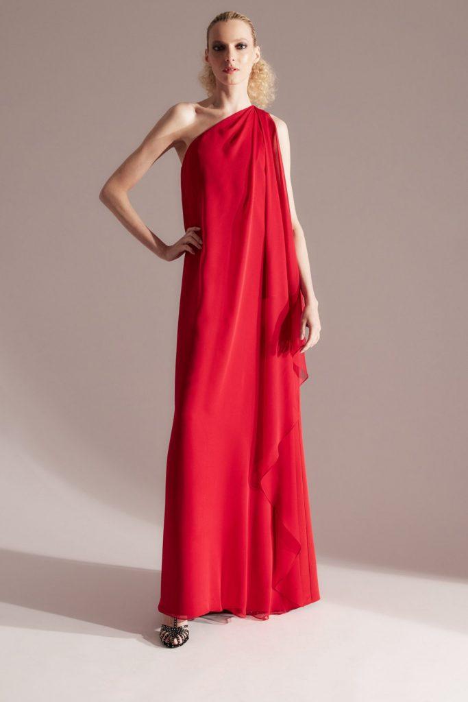 halston x netflix one shoulder red dress