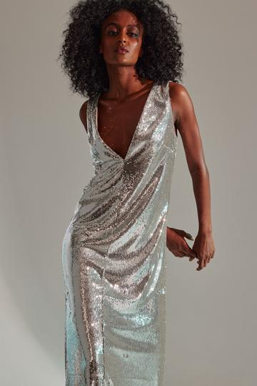 halstonxnetflix silver sequin dress