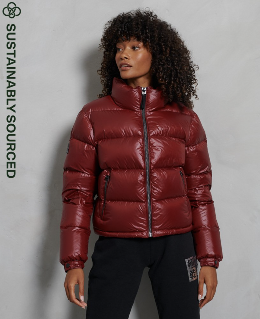 Luxe Alpine Down Padded Jacket superdry red shiny