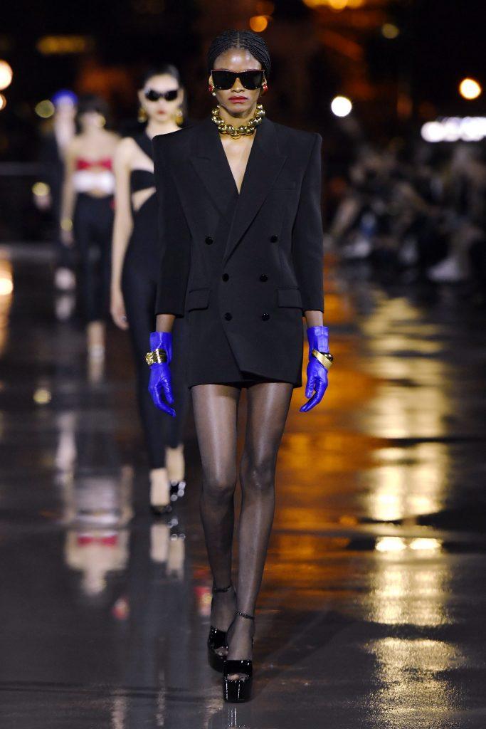 Saint Laurent Runway Paris Fashion Week Womenswear Spring Summer 2022 on September 28, 2021 in Paris, France. (Photo by Victor VIRGILE/Gamma-Rapho via Getty Images)