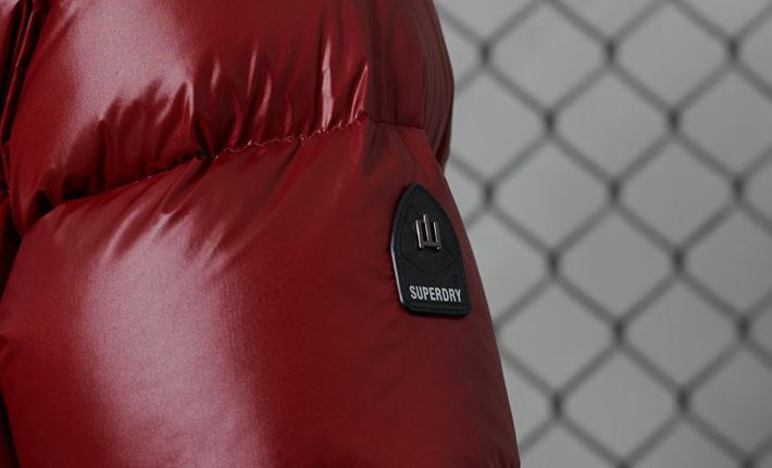 superdry eco friendly sustainable red puffer jacket coat