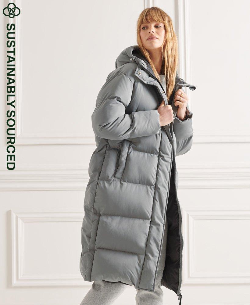 Longline Duvet Coat, Grey superdry puffer coats